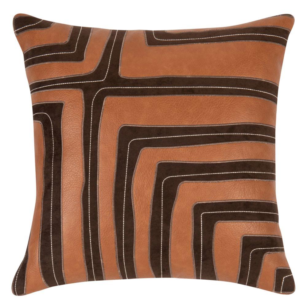 Kissenbezug, braun, schwarz und orange 40x40