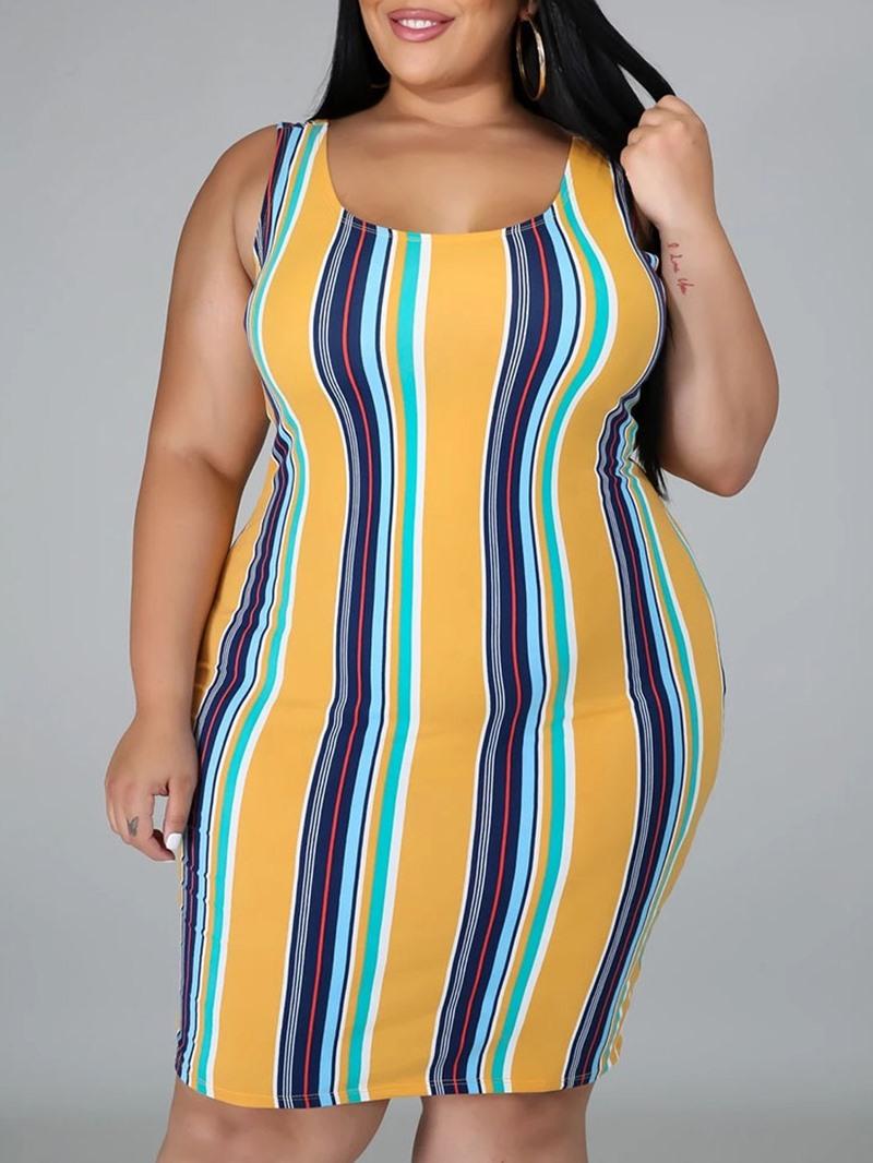 Ericdress Sleeveless Scoop Knee-Length Mid Waist Pullover Dress