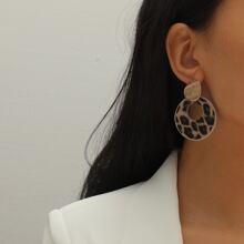 Leopard Pattern Round Drop Earrings