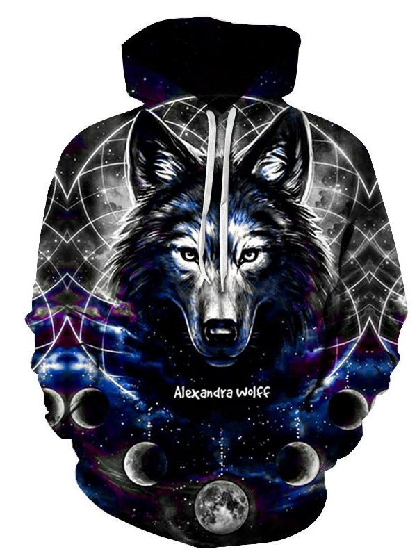 Fashion Novelty Sweatshirts 3D Wolf Printed Warm Hoodies with Pocket