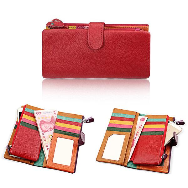 Women Stylish Multi-slots Cowhide Leather Card Holder Purse Wallet