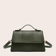 Snakeskin Flap Satchel Bag