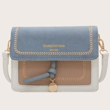 Color Block Stitch Detail Flap Crossbody Bag