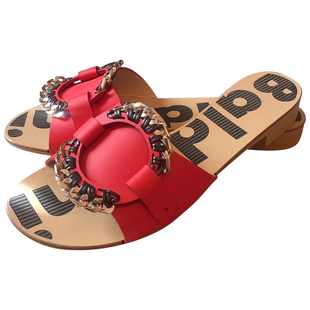 Baldinini \N Red Leather Sandals for Women 39 EU