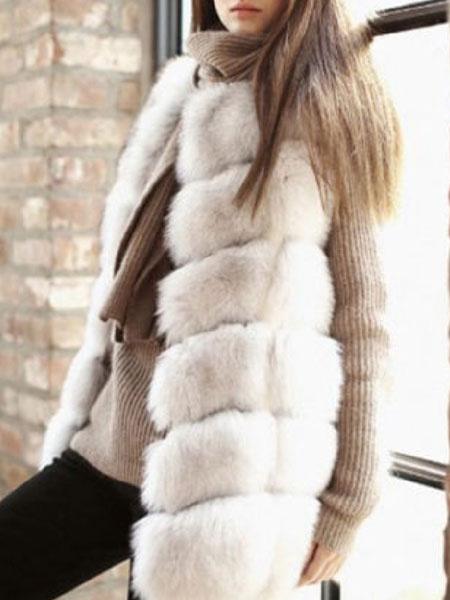Milanoo Chaleco de piel sintetica chaleco sin mangas chaqueta de invierno sin mangas de las mujeres chaleco