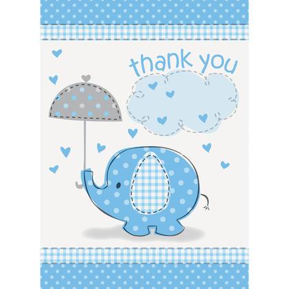Blue Shower de bébé éléphant merci cartes de correspondance, 8 ct