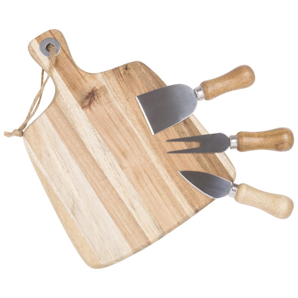 Kaeseplatte aus Kautschukbaumholz mit Accessoires
