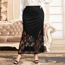 Faldas Extra Grande Encaje en contraste Liso Elegante