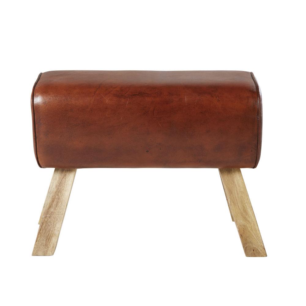1 Sitzer-Bank aus Mangoholz und Ziegenleder