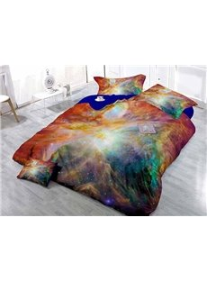 Fancy Cool Colorful Galaxy Wear-resistant Breathable High Quality 60s Cotton 4-Piece 3D Bedding Sets