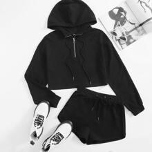 Half Zip Placket Hoodie & Track Shorts Set