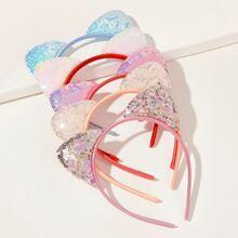 Diadema de niñitas con diseño de oreja de lentejuelas 5 piezas