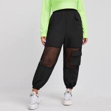 Plus Contrast Mesh Flap Pocket Cargo Pants