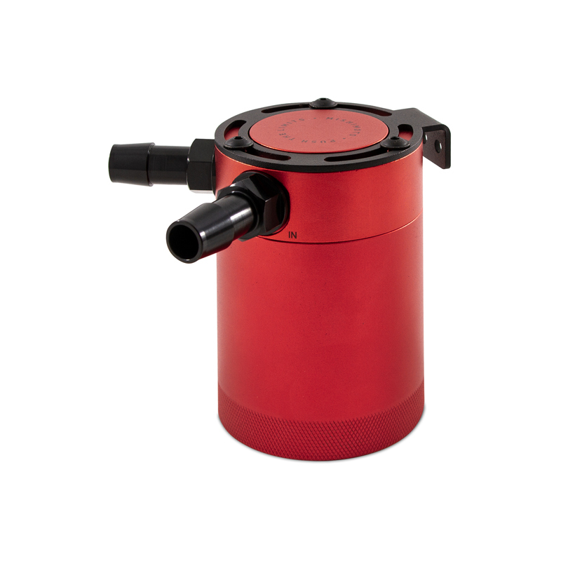 Mishimoto MMBCC-CBTWO-RD Compact Baffled Oil Catch Can (Red   2 Port)