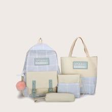 4 piezas mochila de cuadros con estuche