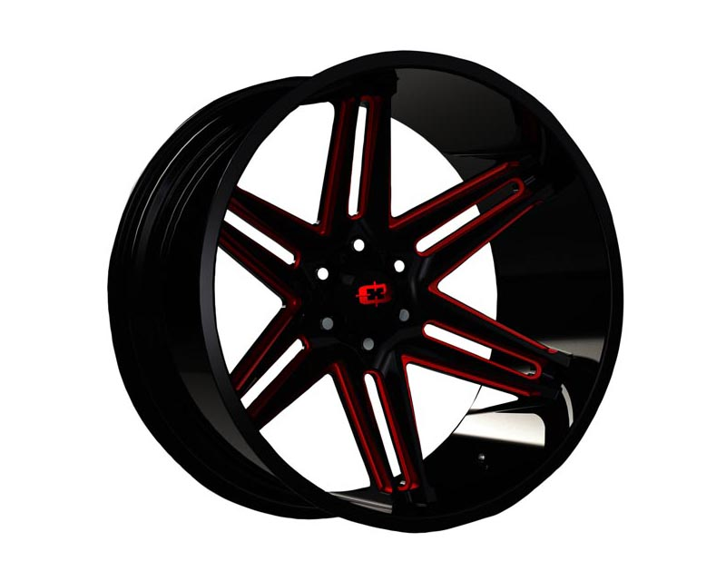 Vision Wheels 363-20036GBMR-25 Razor Wheel 20x10 6x1350x25 BKGLBR Gloss Black Milled Spokes Red Tint