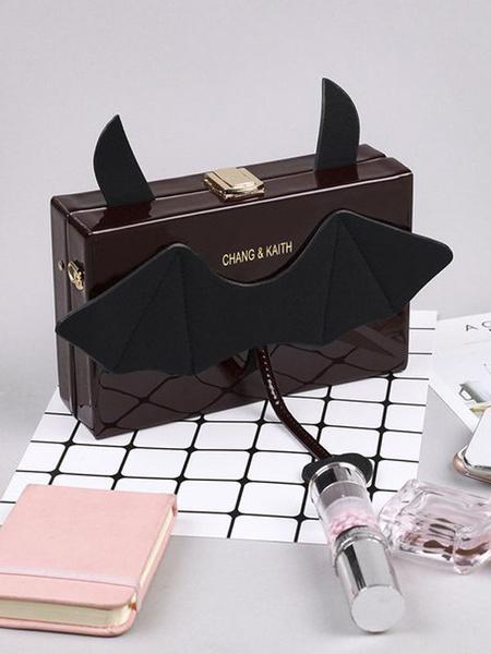 Milanoo Gothic Lolita Bag Black PU Leather Cross Body Bag Lolita Accessories