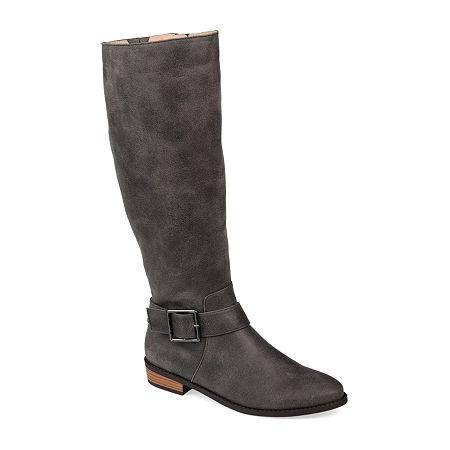 Journee Collection Womens Winona Riding Boots Stacked Heel, 12 Medium, Gray