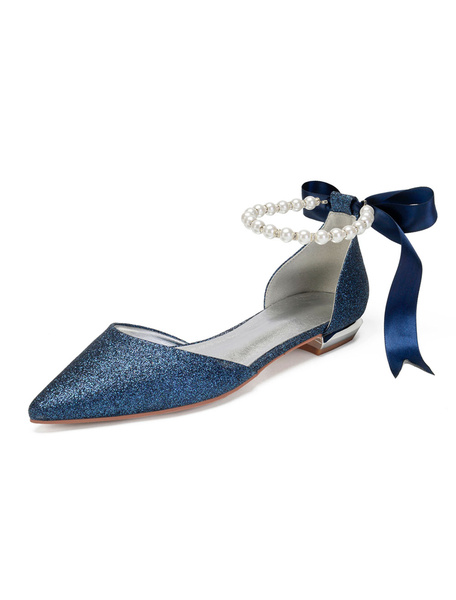 Milanoo Silver Bridesmaid Flats Glitter Pointed Toe Pearls Bow Wedding Shoes