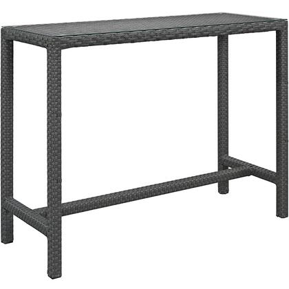 Sojourn Collection EEI-1956-CHC 51 Large Outdoor Patio Bar Table with Stretchers  Tempered Glass Top and Powder Coated Aluminum Frame in