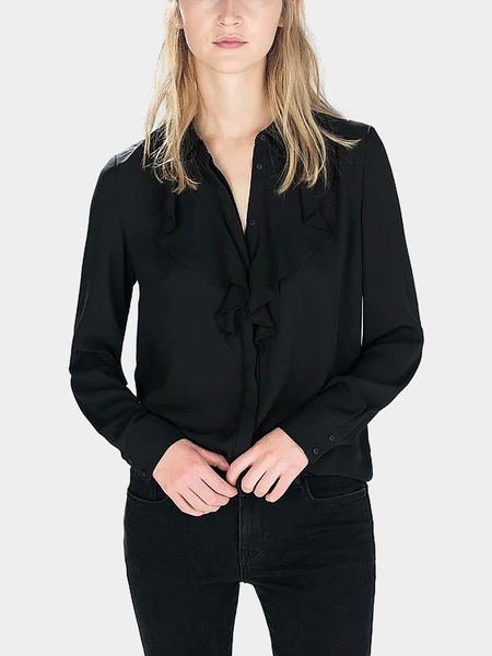 Yoins Black Flouncing Front Lapel Top