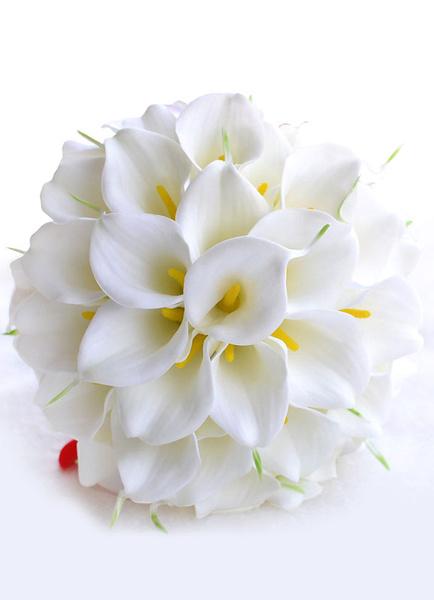 Milanoo Ramos de novias de flor de seda blancos Ramo atado a mano