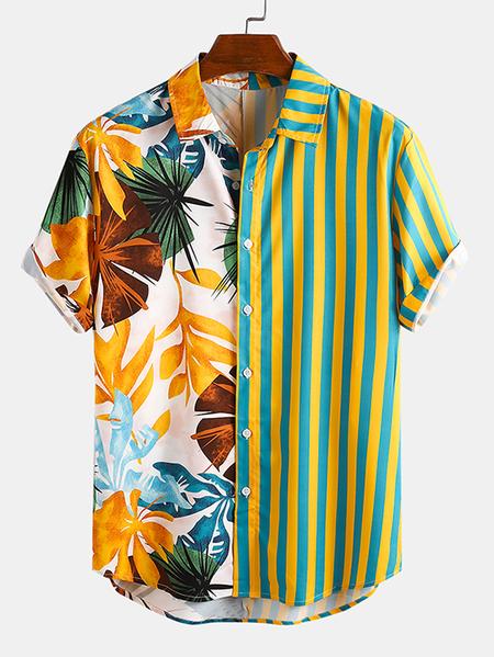 Yoins INCERUN Men Summer Hawaii Beach Patchwork Tropical Striped Bohemian Shirt