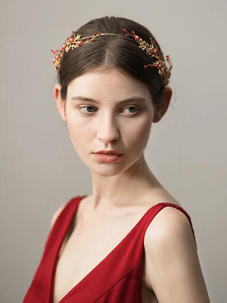Milanoo Accesorios para el cabello nupcial de diadema de boda de hoja roja con cuentas