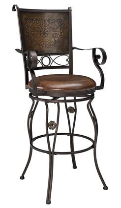 222-432 Big & Tall Copper Stamped Back Barstool with Rolled Arms and Stretcher in