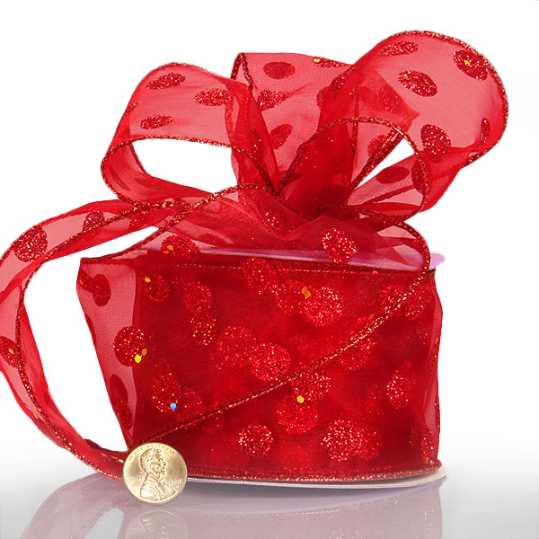 2 1/2 X 10 Yards Metal Red Glitter Dots Sheer Ribbon by Ribbons.com