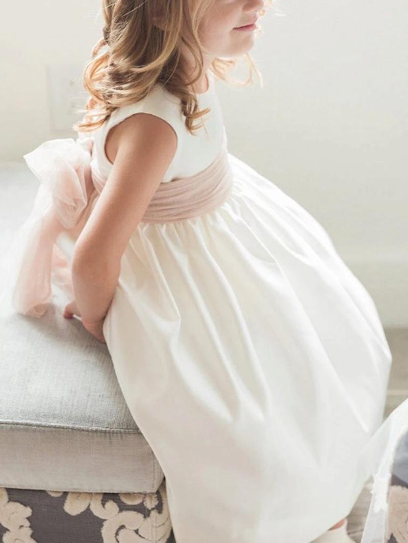 Ericdress Pearls Button Sashes Flower Girl Dress