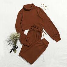 Outfit de dos piezas Bolsillo Liso Casual