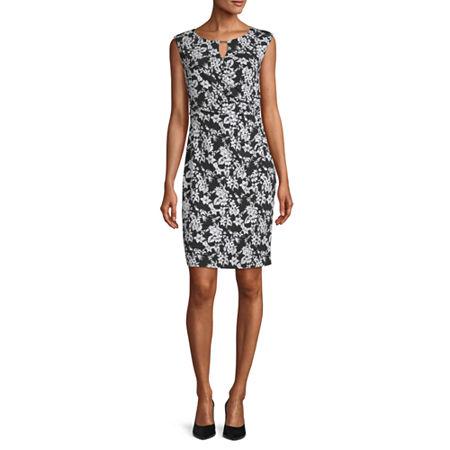 Liz Claiborne Short Sleeve Floral Sheath Dress, X-large , Black