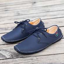 Men Square Toe Lace-up Loafers