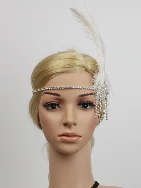 Milanoo Retro Hair Accessories 1920s Great Gatsby Headband Rhinestone Feather Women Flapper Headpieces Halloween