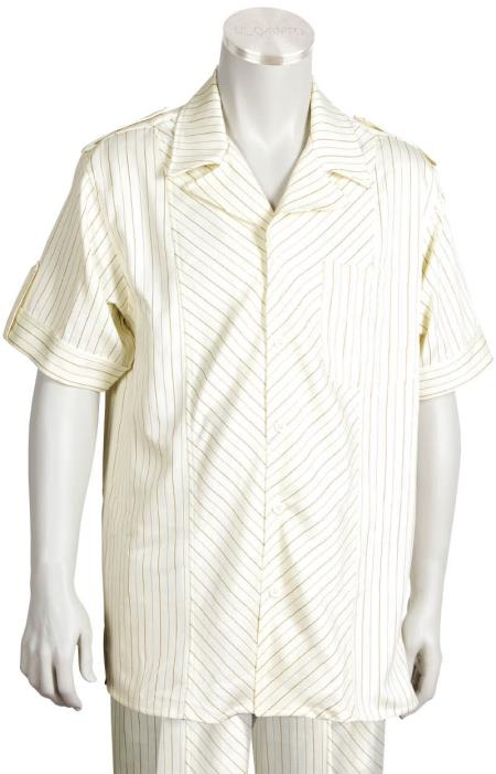 Mens 2 Piece Short Sleeve Walking Suit Buttoned Accents CreamRust