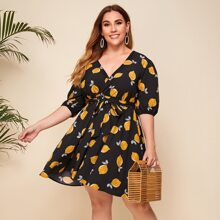 Vestido linea A con lazo con estampado de limon