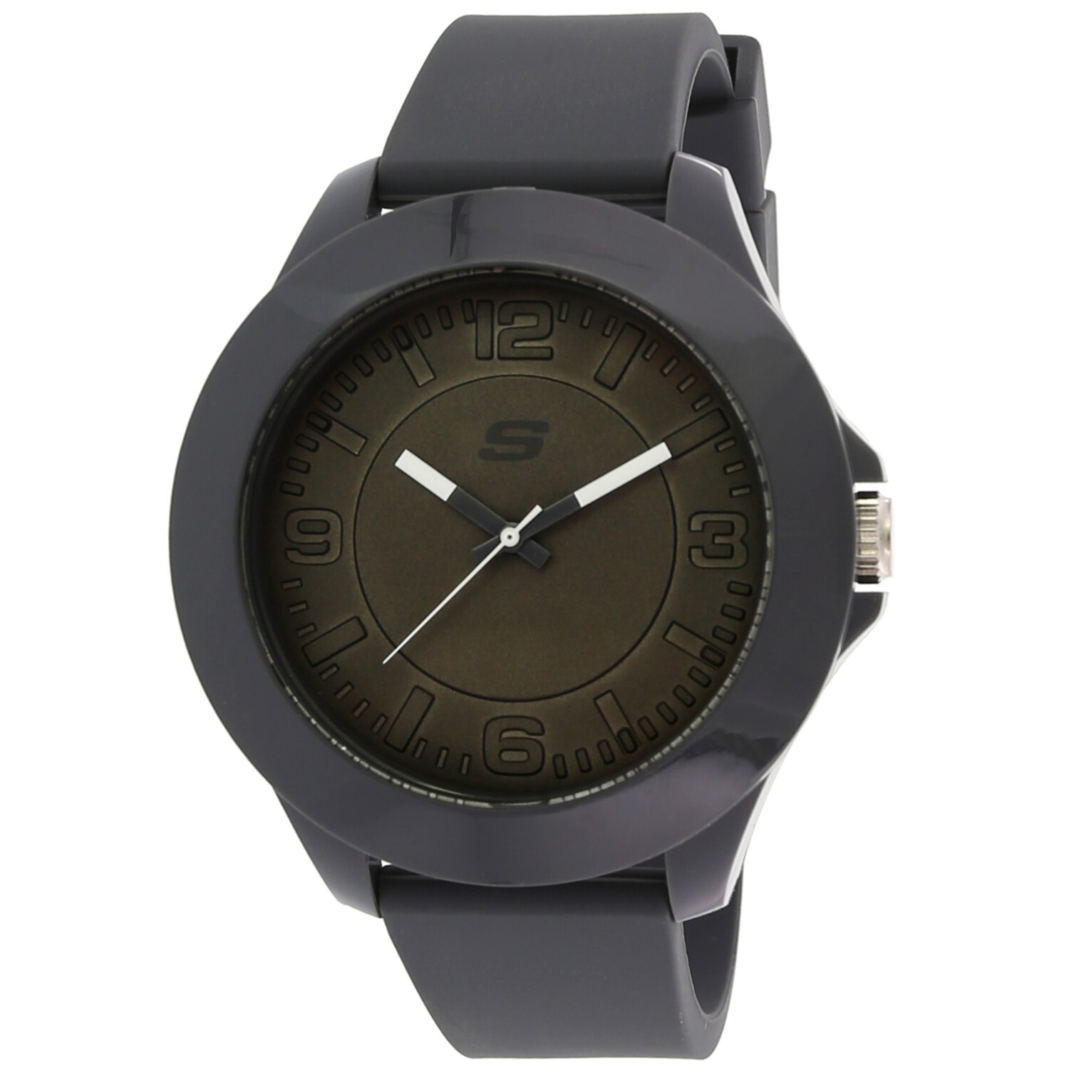 Skechers Watch SR5105 Rosencrans, Quartz Analog Display, Oversize, Water Resistant, Buckle Closure, Silicone Band, Gray