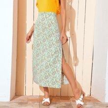 Falda con abertura con estampado floral de margarita