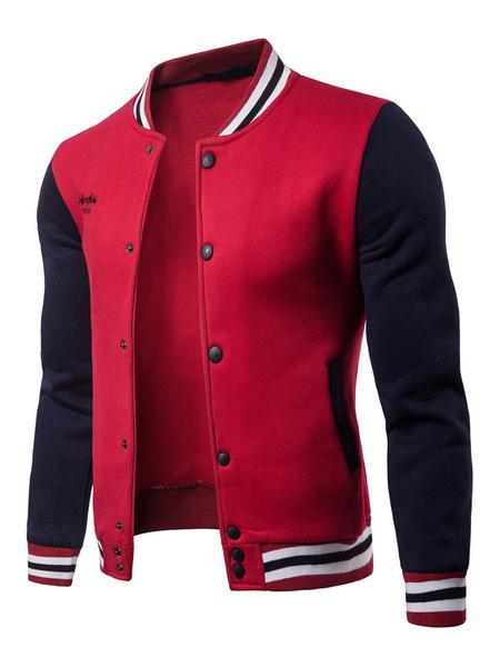 Milanoo Men Varsity Jacket Embroidery Stripe Two Tone Slim Fit Long Sleeve Bomber Jacket
