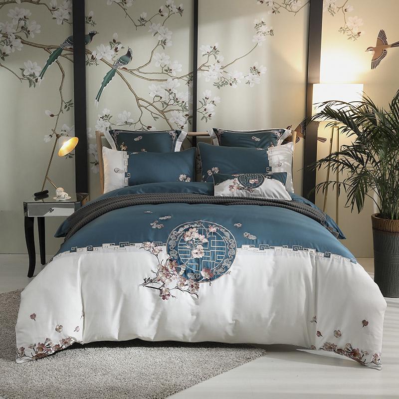 Vintage Retro Four-Piece Set Embroidery Duvet Cover Set Long Staple Cotton Bedding Sets Flat Sheet