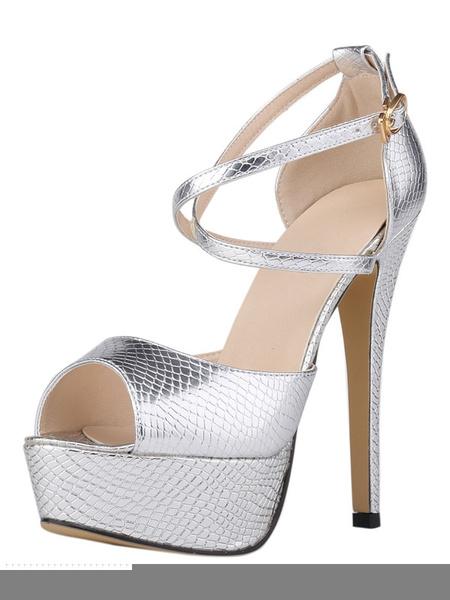 Milanoo Zapatos Peep toe de PU estilo modernoColor liso de tacon de stiletto para mujer
