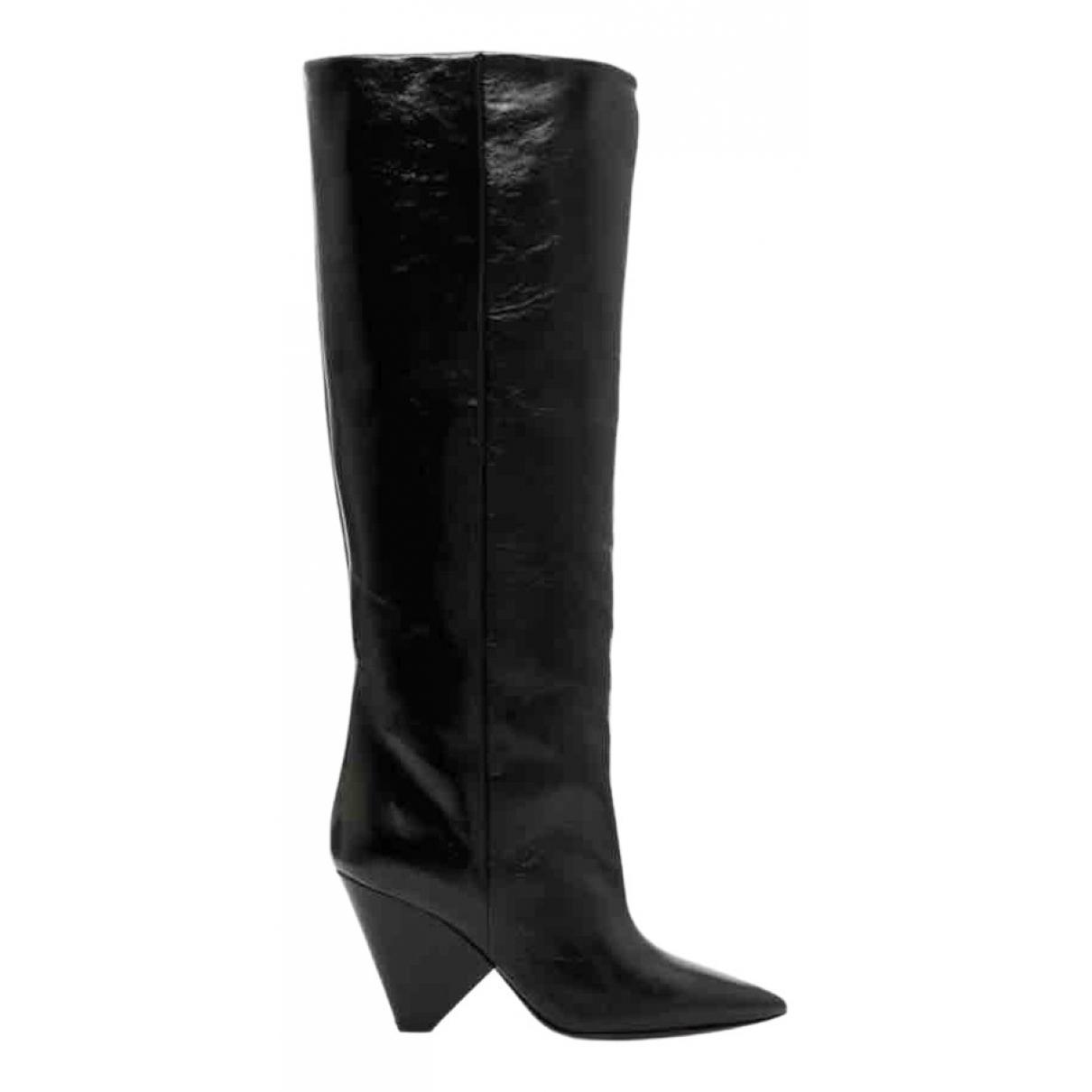 Saint Laurent Niki Black Leather Boots for Women 36 EU