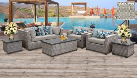 Florence Collection FLORENCE-07d-ASH 7-Piece Patio Set 07d with 2 Corner Chair   2 End Table   1 Storage Coffee Table   2 Club Chair - Grey and Ash