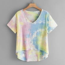 T-Shirt mit Batik und Stufensaum