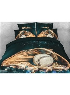 3D Baseball Catcher's Glove Digital Printed Cotton 4-Piece Bedding Sets/Duvet Covers