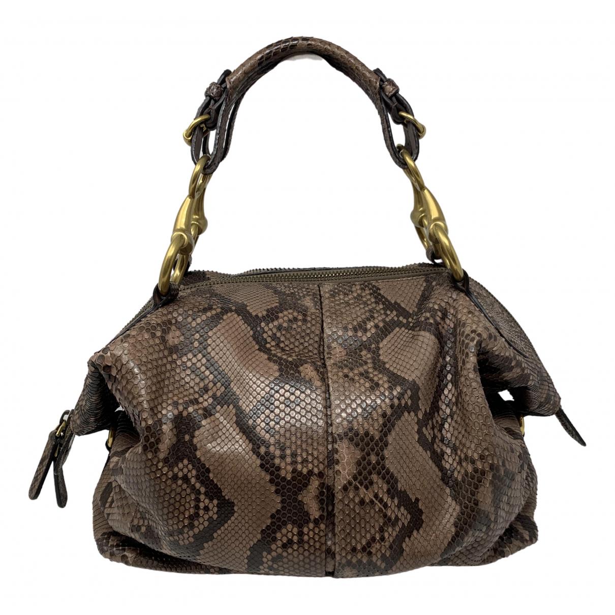 Gucci - Sac a main   pour femme en python - marron