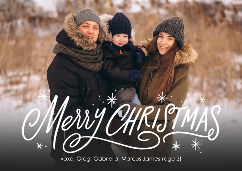 Christmas Photo Cards 5x7 Cards, Premium Cardstock 120lb with Rounded Corners, Card & Stationery -Festive Merry
