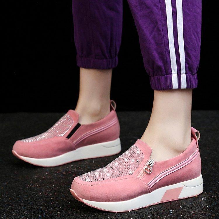 Plus Size Rhinestone Zipper Deaoration Slip Resistant Platform Slip On Shoes