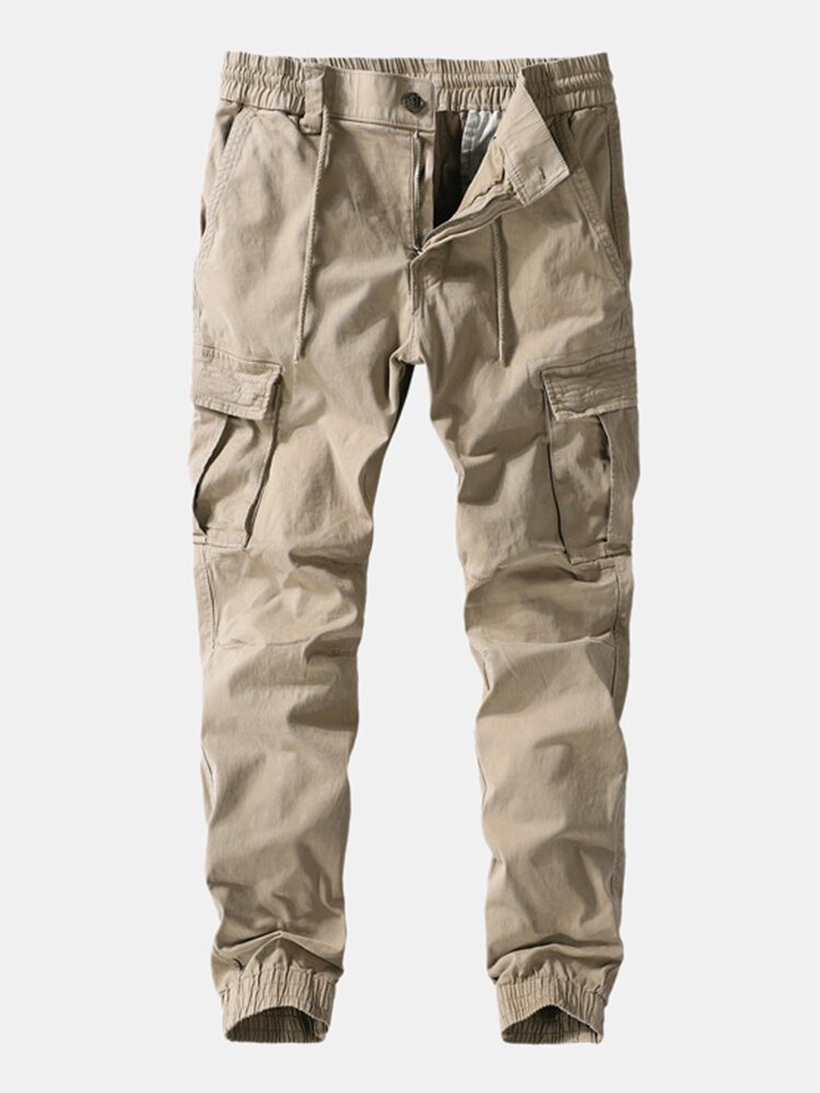 Mens Outdoor Cotton Paratrooper Multi Pockets Ankle Banded Pants